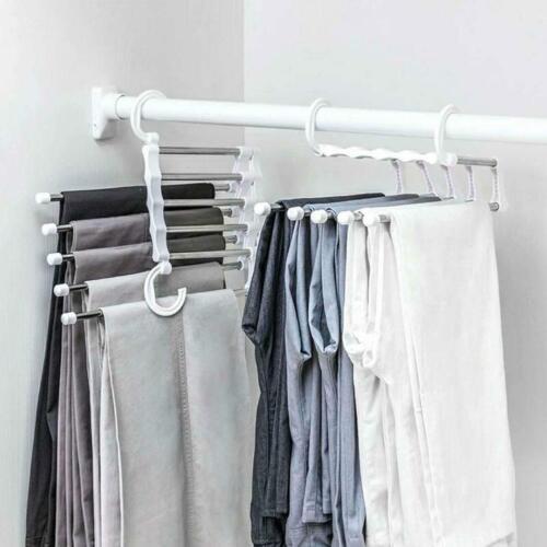 5-in-1 Pants Rack Shelves Stainless Steel Multi-functional Wardrobe Hanger