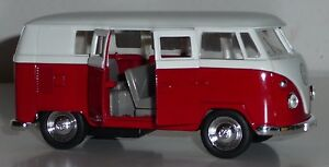 VW-Bus-1962-camionnette-t1-rouge-voiture-miniature-1-37-Metal-Moulage-de-WELLY-NEUVE