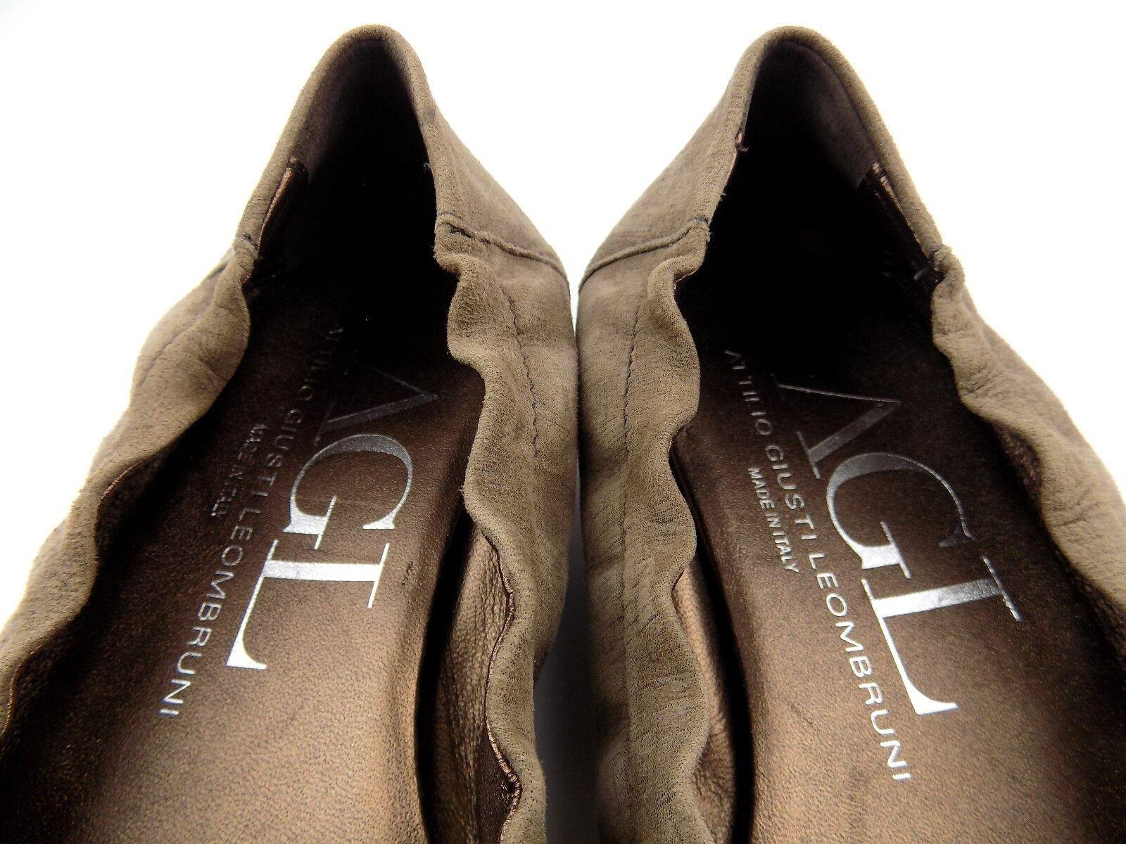 AGL Attilio Giusti 8.5 Leombruni Damenschuhe Schuhes Sz 8.5 Giusti Taupe Suede Cap Toe Ballet Flat 6673ed