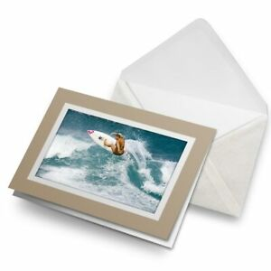 Greetings-Card-Biege-Surfing-Girl-Wave-Surfer-Surf-Ocean-Sea-8085