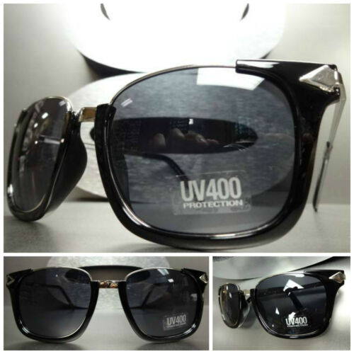 Men/'s or Women CLASSIC VINTAGE RETRO Style SUNGLASSES Large Black /& Silver Frame