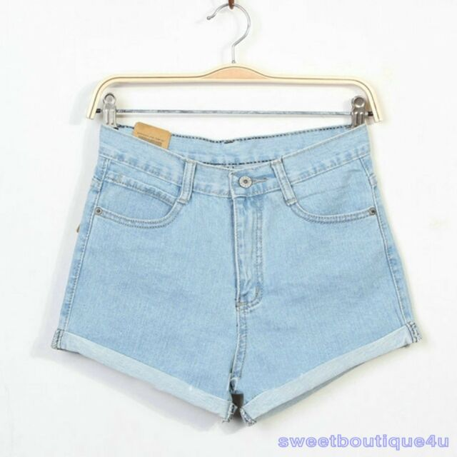 M Fashion Women ladies Vintage Denim High Waist Light Blue Jean Shorts HOT Pants