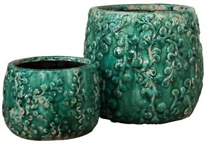 Pot-Set-of-2-Floral-Teal-Vintage-Planter-Garden-Plant-Country-Style-Beautiful