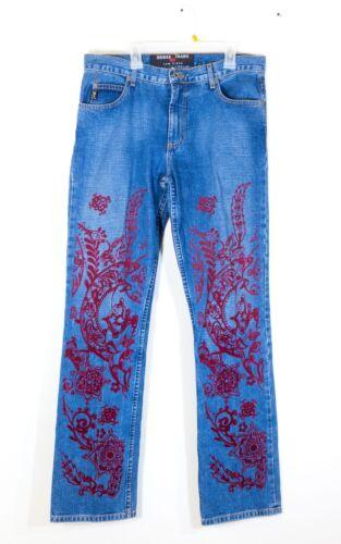 30 Vintage Jeans Rider Rare 046 de velours Low rouge Sz fleurs Geuss florales wTq6nxFO0