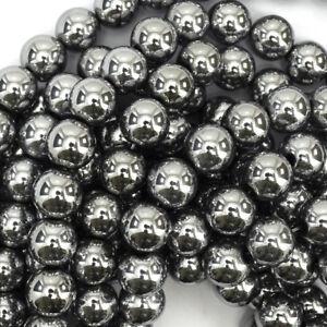 Silver-Hematite-Round-Beads-Gemstone-15-034-Strand-2mm-3mm-4mm-6mm-8mm-10mm-12mm