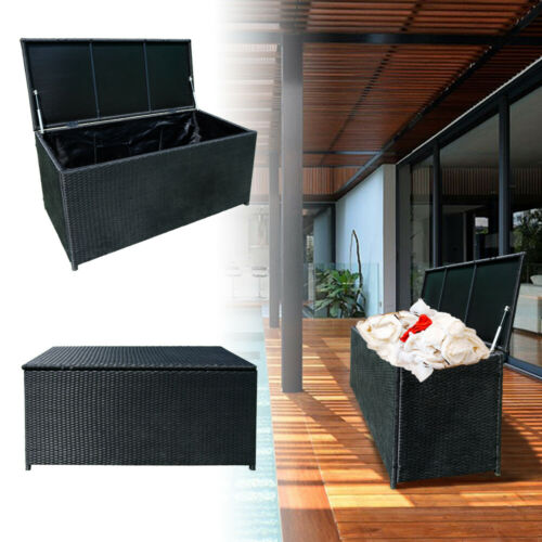 Aufbewahrungsbox 360L Polyrattan Kissenbox Gartenbox Kunststoff Wasserdicht DHL