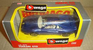 BBURAGO-1-43-DIE-CAST-METAL-4175-FERRARI-GTO-BLUE-METALLIC-BURAGO