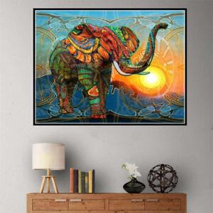 Taladro completo 5D DIY diamante pintado colorido elefante punto de Cruz