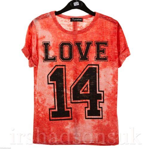 New Girls Tie Dye HAWAII NEW YORK LOVE Print Stylish Summer T Shirt Top 7-13Yr