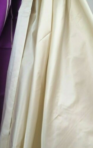 Silk Cotton sateen Cream gold drapery upholstery DEDAR Mademoiselle 140 x 50cm