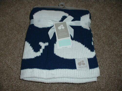 Just Born Whale Baby Blanket Navy White Chenielle Knit Infant Boys Soft NWT RARE