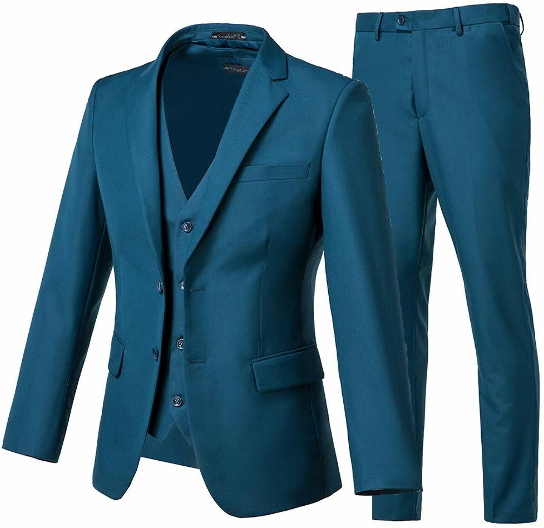 Yanlu Mens Royal Blue 2-Piece Suit Slim Fit One Button Groom Tuxedo with Black Pants
