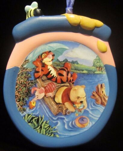 RARE Disney LE Winnie the Pooh Tigger River Ceramic Porcelain Christmas Ornament