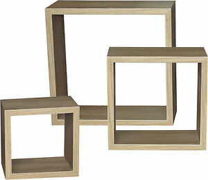 regal h ngeregal wandregal wandboard 3 teilig eiche sonoma matt quadrat w rfel ebay. Black Bedroom Furniture Sets. Home Design Ideas