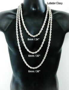 Hip Hop 14k White Gold Gp 8mm Silver Rope Chain Necklace