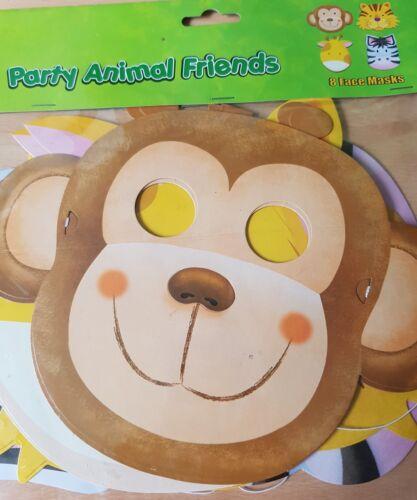 4 Designs. 8x Jungle Safari Thème Childrens Party carton Visage Masques