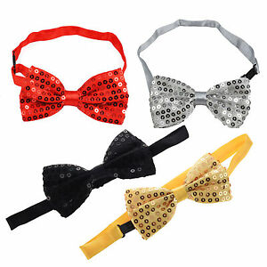 Unisex mens ladies Fancy Dress sparkle Dickie Bow Tie Sequin Party Gold Red Pink