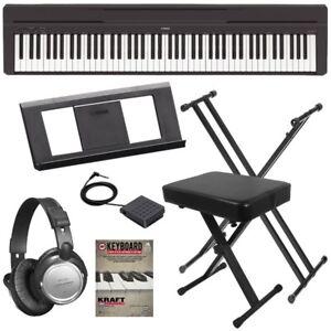yamaha p 45 digital piano black key essentials bundle ebay. Black Bedroom Furniture Sets. Home Design Ideas