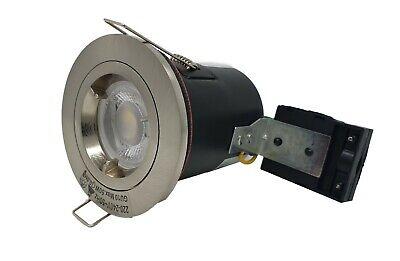10x Fire Rated Downlight Spot GU10 Mains satin Light Spotlights fixed twist lock
