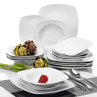 18Pc Dinner Set Porcelain Crockery Dining Service Bowls Plates 6 Place Setting