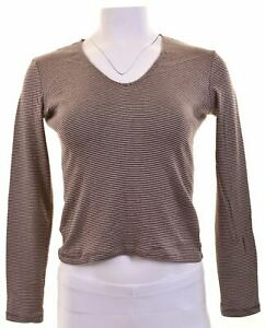ARMANI-JEANS-Womens-Top-Long-Sleeve-UK-12-Medium-Brown-Striped-Cotton-EE10