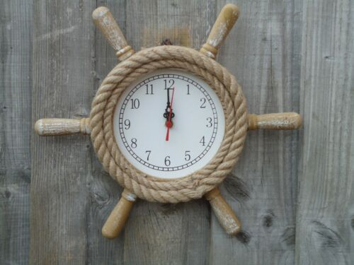 Ships wheel Clock Wooden With Rope maritime Nautical Ship Boat Nice Size