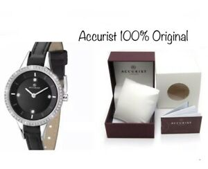 b30a4282a1c Image is loading Accurist-Ladies-Contemporary-Stone-Set-Leather-Strap-Watch-
