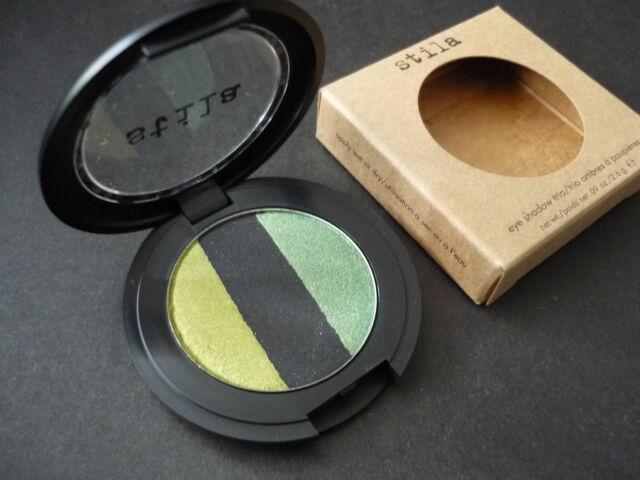 NIB Stila Eye Shadow Trio Going Green Pan + Refillable Compact Full Size