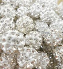 100pcs/lot 8mm white micro pave disco crystal shamballa beads bracelet spacer