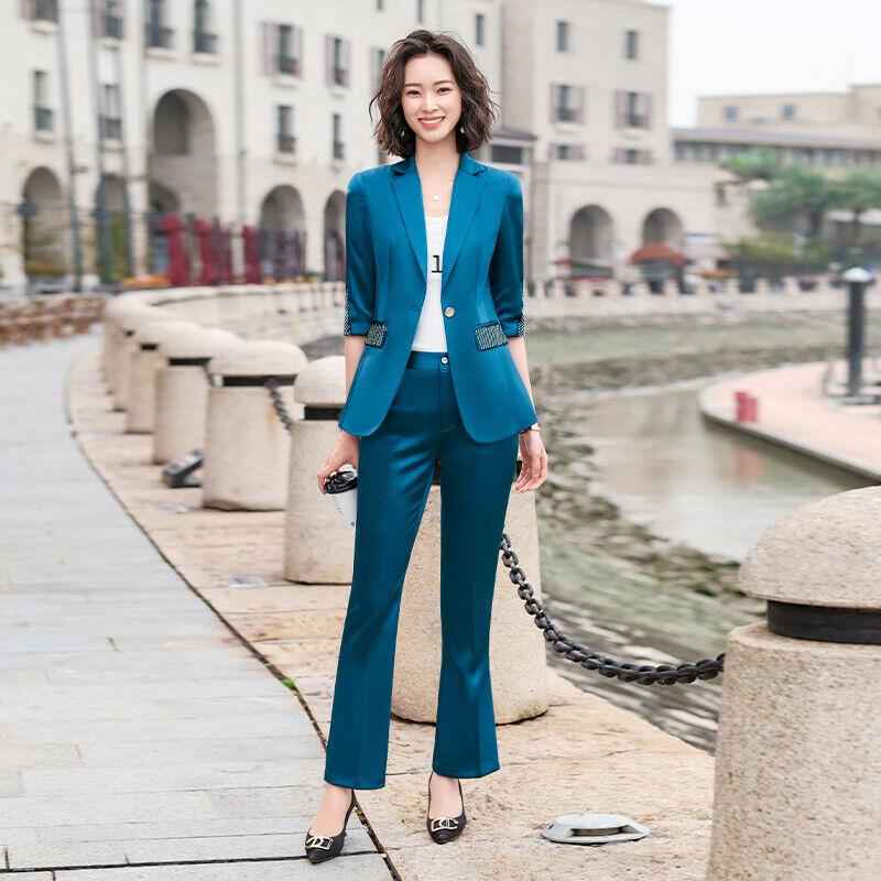 Traje Completo Mujer Chaqueta Pantalones Mangas Tres Cuartos Brillante Azul M 44