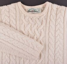 Arancrafts IRELAND Cream WOOL CASHMERE Cable Knit Fisherman Pullover Sweater M