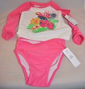 c5fde6f239f80 NWT Baby Gap Girl s 2T 2 Pc. Rash Guard Swimsuit UPF