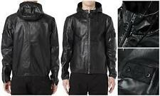 "Men's Stone Island ""Shadow Project"" Black Leather hoodie Jacket size M"