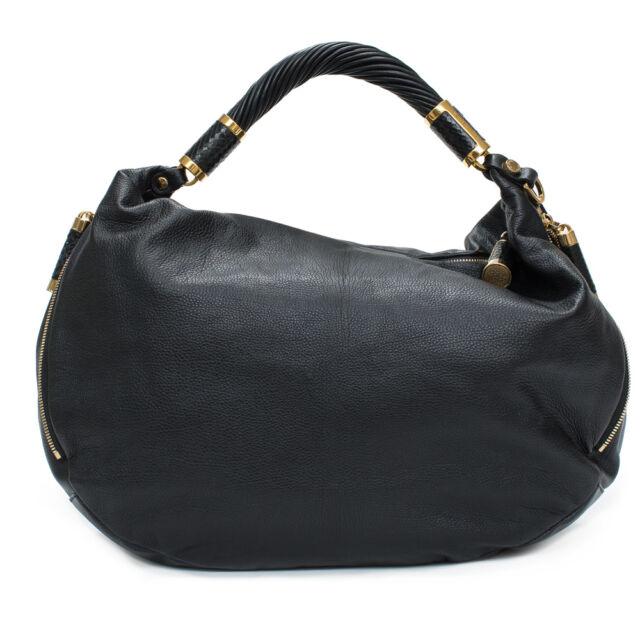 Michael Kors Collection Crescent Tonne Black Gold Large Hobo Leather Bag Handbag