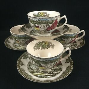 Set-of-4-VTG-Cups-and-Saucers-Johnson-Bros-Friendly-Village-Ice-House-England
