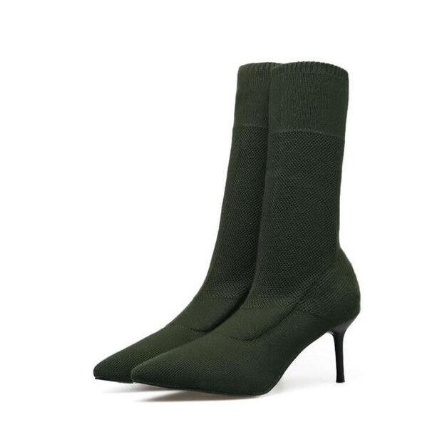 stivali stivaletti bassi scarpe stiletto 6.5 cm verde eleganti simil pelle 9427
