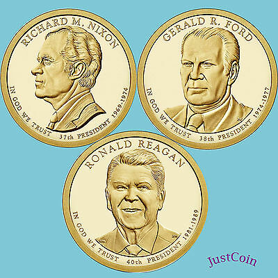 2016-P  ALL 3 PRESIDENTIAL DOLLAR COINS  R Ford  R Nixon  G Reagan