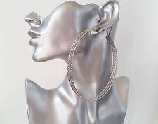Gorgeous HUGE silver tone oversized patterned 3 row hoop earrings NEW Big & fab!