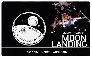 2009 Australia 40th Anniversary of Moon Landing 50c Uncirculated Coin in Card