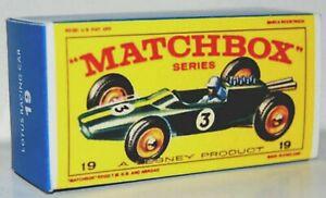 Matchbox-Lesney-No-19-LOTUS-MK-33-RACING-CAR-style-E-empty-Repro-Box