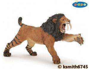 Papo-ROARING-SMILODON-plastic-toy-Prehistoric-Sabretooth-animal-cat-NEW