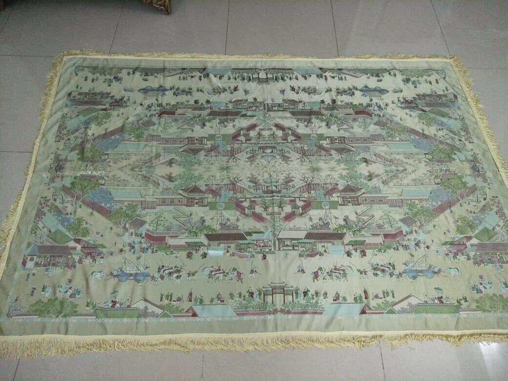 La seconde guerre mondiale Soie Piano Châle Table Cloth (histoire de jardin et marché vue) 80 x55 cm203x140