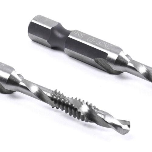 """Spiral Flute Hss Combination Countersink Screw Tap Drill Bit Set 1//4/"""" hex shank"""