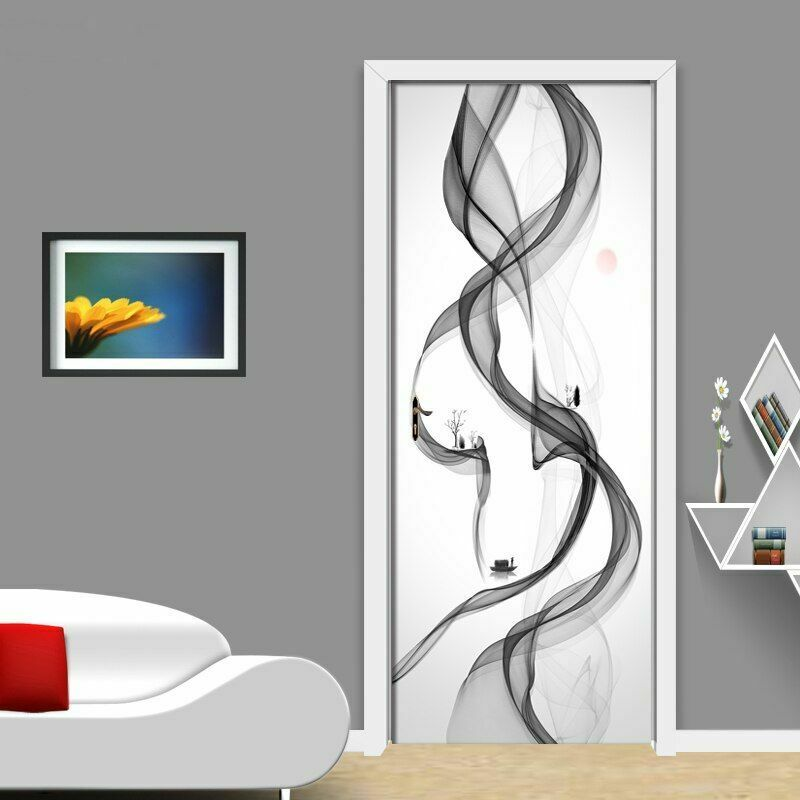 Door Self Adhesive Wallpaper Abstract Ink Painting Mural For Home Interior Decor
