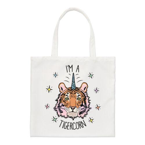 Sono un tigercorn Small Tote Bag-Divertente Tigre Animale Unicorno spalla