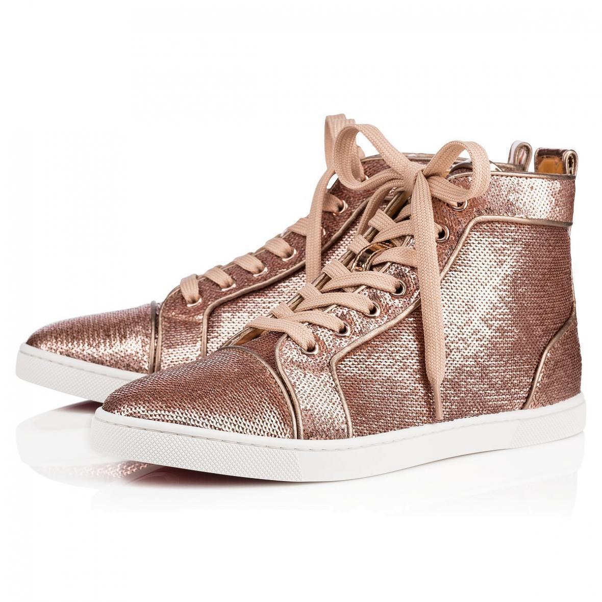 NB Louboutin Christian Louboutin NB Bip Bip Orlato Flat Nude Pink Sequin Hightop Sneaker 37.5 8170e0