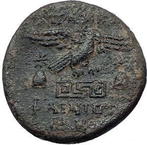 APAMEIA-PHRYGIA-88BC-Athena-Gemini-Caps-Eagle-Original-Ancient-Greek-Coin-i68065
