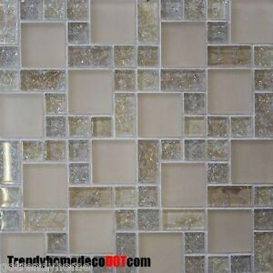 Sample- Cream Crackle Glass Mosaic Tile Kitchen Backsplash Bath Wall ...