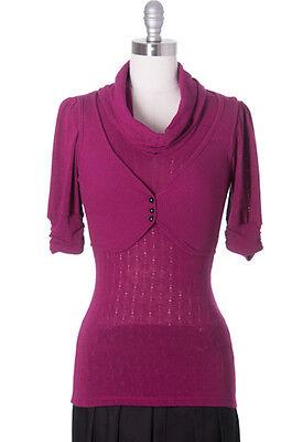 Cinammon Toast Sweater, Modcloth Style, Casual, 3/4 Sleeve, Purple, Grey, Black