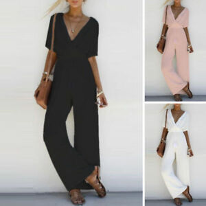 Trendy-Women-V-Neck-Loose-Playsuit-Party-Romper-Short-Sleeve-Jumpsuit-Casual